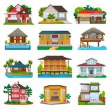 Villa vector facade of house building and tropical resort hotel on ocean beach in paradise illustration set of bungalow. In village isolated on white background Stock Photography