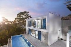 Villa. View of nice modern villa during dusk royalty free stock image