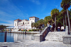 Villa Vizcaya Museum. Miami Beach, United States - February 8, 2016: People walk and relax at the Villa Vizcaya Museum in the Miami stock photography