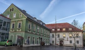 VILLACH, AUSTRIA, Streets of the central part of the city on an. VILLACH, AUSTRIA, 05,01,2018 Streets of the central part of the city on an early winter morning Stock Photo