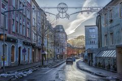 VILLACH, AUSTRIA, Streets of the central part of the city on an. VILLACH, AUSTRIA, 05,01,2018 Streets of the central part of the city on an early winter morning Royalty Free Stock Photography