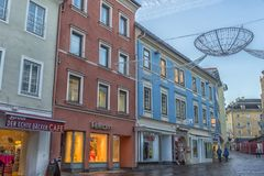 VILLACH, AUSTRIA, Streets of the central part of the city on an. VILLACH, AUSTRIA, 05,01,2018 Streets of the central part of the city on an early winter morning Royalty Free Stock Images