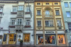 VILLACH, AUSTRIA, Streets of the central part of the city on an. VILLACH, AUSTRIA, 05,01,2018 Streets of the central part of the city on an early winter morning Stock Images