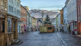 VILLACH, AUSTRIA, Streets of the central part of the city on an. VILLACH, AUSTRIA, 05,01,2018 Streets of the central part of the city on an early winter morning Royalty Free Stock Photos