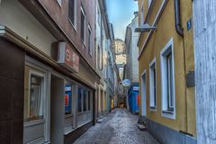 VILLACH, AUSTRIA, Streets of the central part of the city on an. VILLACH, AUSTRIA, 05,01,2018 Streets of the central part of the city on an early winter morning Royalty Free Stock Image