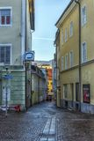 VILLACH, AUSTRIA, Streets of the central part of the city on an. VILLACH, AUSTRIA, 05,01,2018 Streets of the central part of the city on an early winter morning Royalty Free Stock Photo