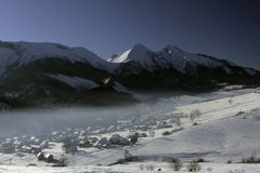 The village of Ždiar in Slovakia. The snowy mountains at the village of Ždiar in the region Spis in northern Slovakia, in winter royalty free stock images