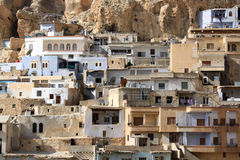 Village. Maalula and rock in Syria Stock Photo