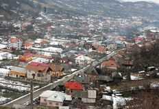 Village. Romanian village landscape, a view from above Stock Photography