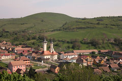 Village. Top view of an village with the church in the center Royalty Free Stock Photo