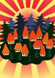 Village. Stylized village houses with red roofs on the background of trees and sunset Stock Photos