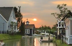 VILLAGE. BEAUTIFUL SUNSET  VILLAGE IN THAILAND Stock Photography