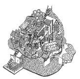 Fantasy village sketch Stock Photos