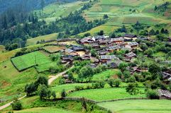 Village. Small village in a rural area of Shangrila in China Royalty Free Stock Photo