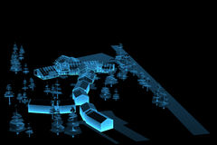 Village (3D xray blue). Village (3D xray blue transparent Royalty Free Stock Image