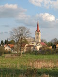 Village. A village, trees, meadow and church Royalty Free Stock Photography
