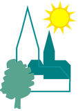 Village. Logo of a village with church, tree and sun Stock Photos