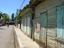 Village. Street with old houses (Dominican Republic Royalty Free Stock Image