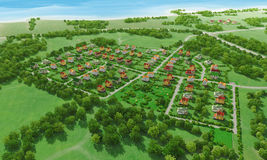 Village from above. Small green village from above. 3d rendering Royalty Free Stock Photography