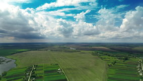 Village Aerial Panorama. Aerial shot: Village With a Bird's-eye view in Spring stock footage