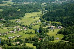 Village aerial view. An aerial view of a village in Poland, in Sudety mountains Royalty Free Stock Photo