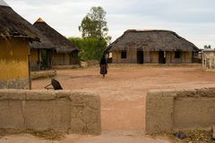 Village africain, huttes Images libres de droits