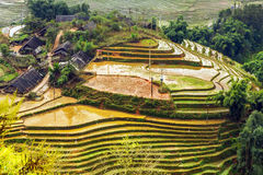 Village agriculture Terraced Rice Field hill Stock Photo