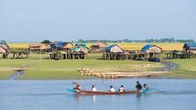 Village along the Kaladan River in Myanmar Royalty Free Stock Photos