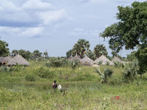 Village along nile river in south sudan Stock Images