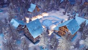 Village alpin à la vue supérieure 4K de nuit d'hiver de chutes de neige illustration stock