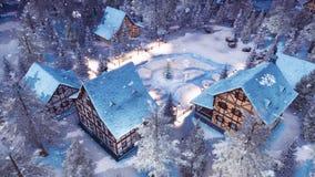Village alpin à la vue supérieure neigeuse 4K de nuit de Noël illustration stock