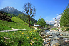Village In The Alps. Ramsau is a German municipality in the Bavarian Alps with a population of around 1,800. It is located in the district of Berchtesgadener royalty free stock image