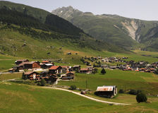Village in Alps. Village in Graubuenden in Switzerland royalty free stock photography