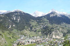 Village in Alps. French village in walley in mountains Alps on border between France and Italy Royalty Free Stock Photography