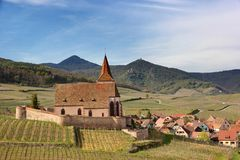Village on Alsace wine trail. Village of Hunawihr, located on the Alsatian wine trail Royalty Free Stock Photos