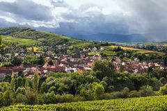 Village on Alsace wine trail. Village of Soultz les bains, located on the Alsatian wine trail Royalty Free Stock Image