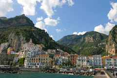 The village of Amalfi. From the jetty stock images