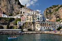 Village of Amalfi, Campania, Italy. View from above of the village of Amalfi, Italy royalty free stock images