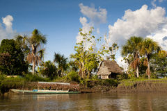 Village in the Amazon rain forest Stock Image