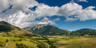 Village of Ancelle in Summer. Champsaur, Hautes Alpes, France. Summer view of the village of Ancelle in the Champsaur Valley. Hautes Alpes, Southern French Alps Royalty Free Stock Photo