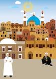 Village arabe dans le désert Image stock