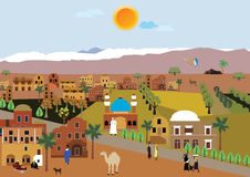 Village arabe paisible dans le désert Images libres de droits
