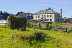 The village of the Arctic circle on the Kola Peninsula, Russia Royalty Free Stock Image