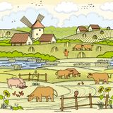 Village area illustration. For your projects Royalty Free Stock Photo