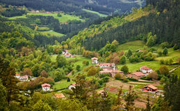 Village at Arratia valley Stock Photos