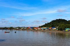 Village in Asia near the river Royalty Free Stock Photography