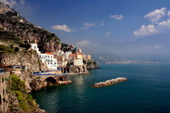 Village of Atrani on the Amalfi coast Royalty Free Stock Photos