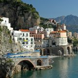 Village Atrani on Amalfi Coast Stock Photo
