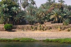 Village au fleuve de Nil Image stock