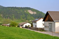 Village in Austria. Cottages in Dreistetten in Austria, small village located far from big centers royalty free stock images
